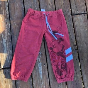 red disney minnie mouse capris size xs